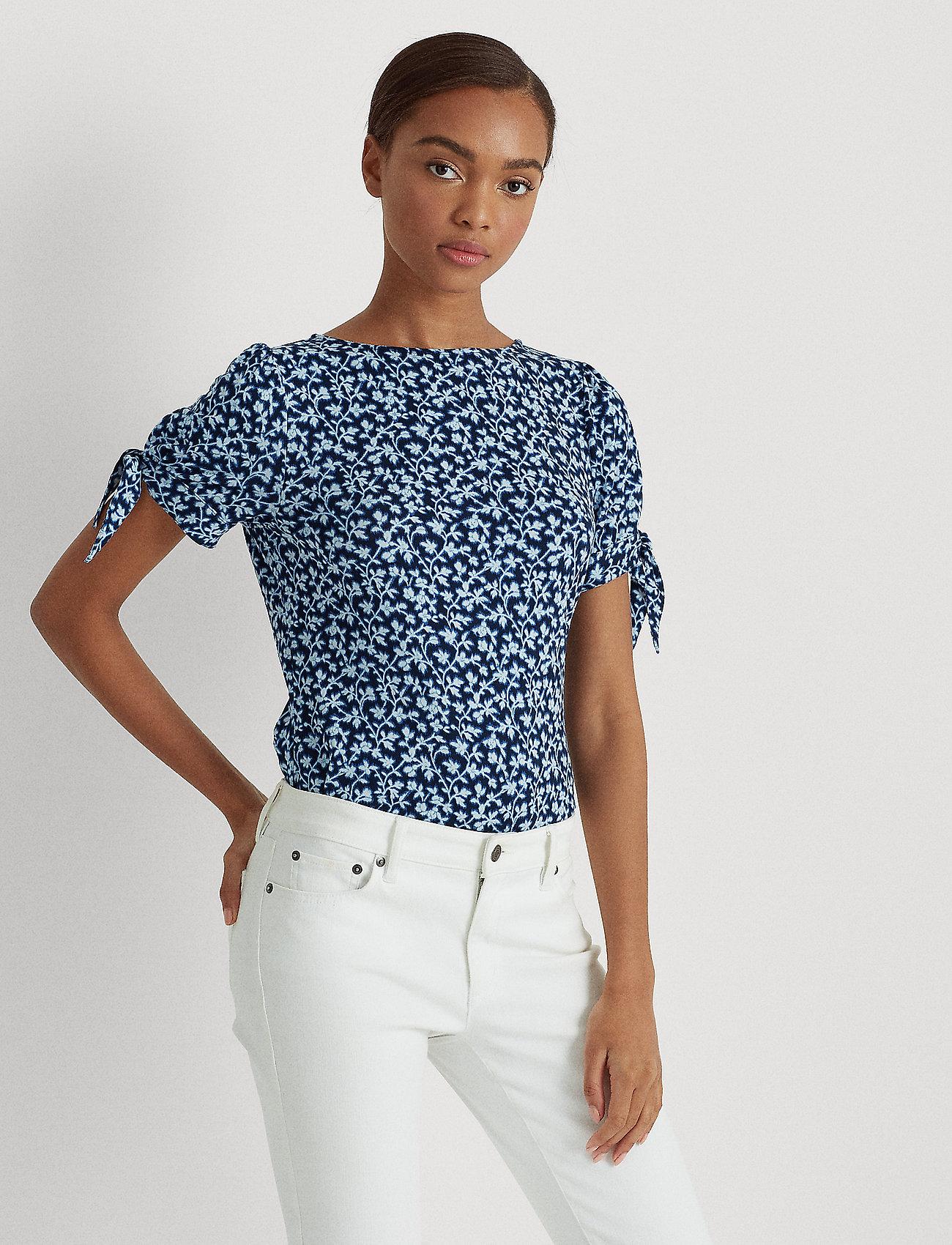Lauren Ralph Lauren - Floral Jersey Puff-Sleeve Top - t-shirts - dk blue multi - 0