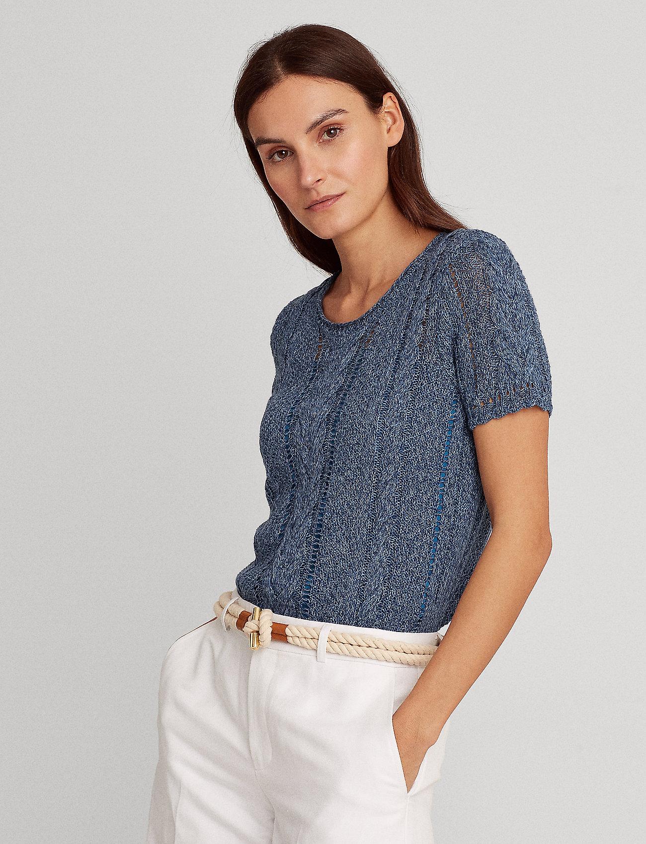Lauren Ralph Lauren - Cable-Knit Linen-Blend Sweater - strikkede toppe - indigo marl - 0