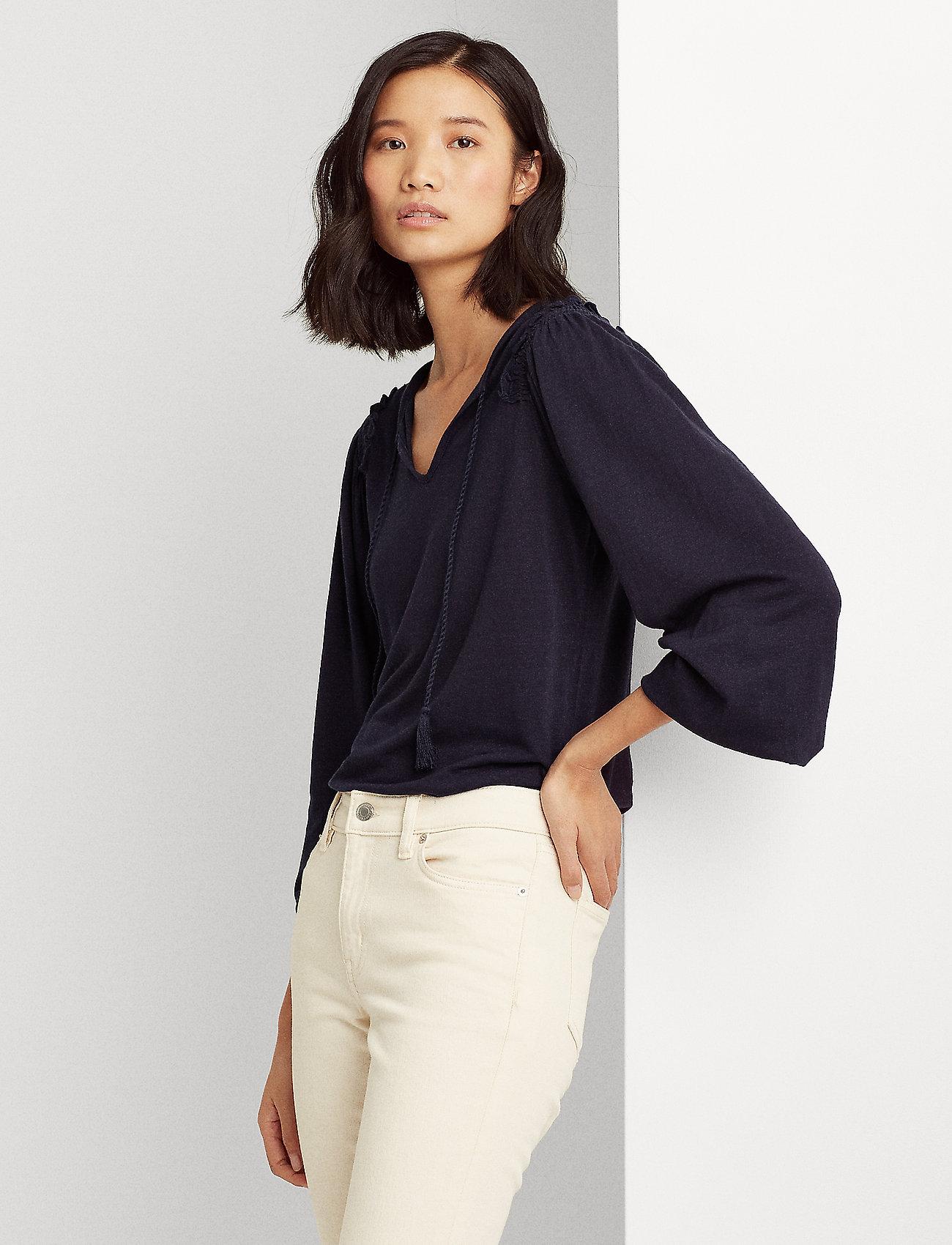 Lauren Ralph Lauren - Linen-Blend Blouson Top - blouses à manches longues - lauren navy - 0