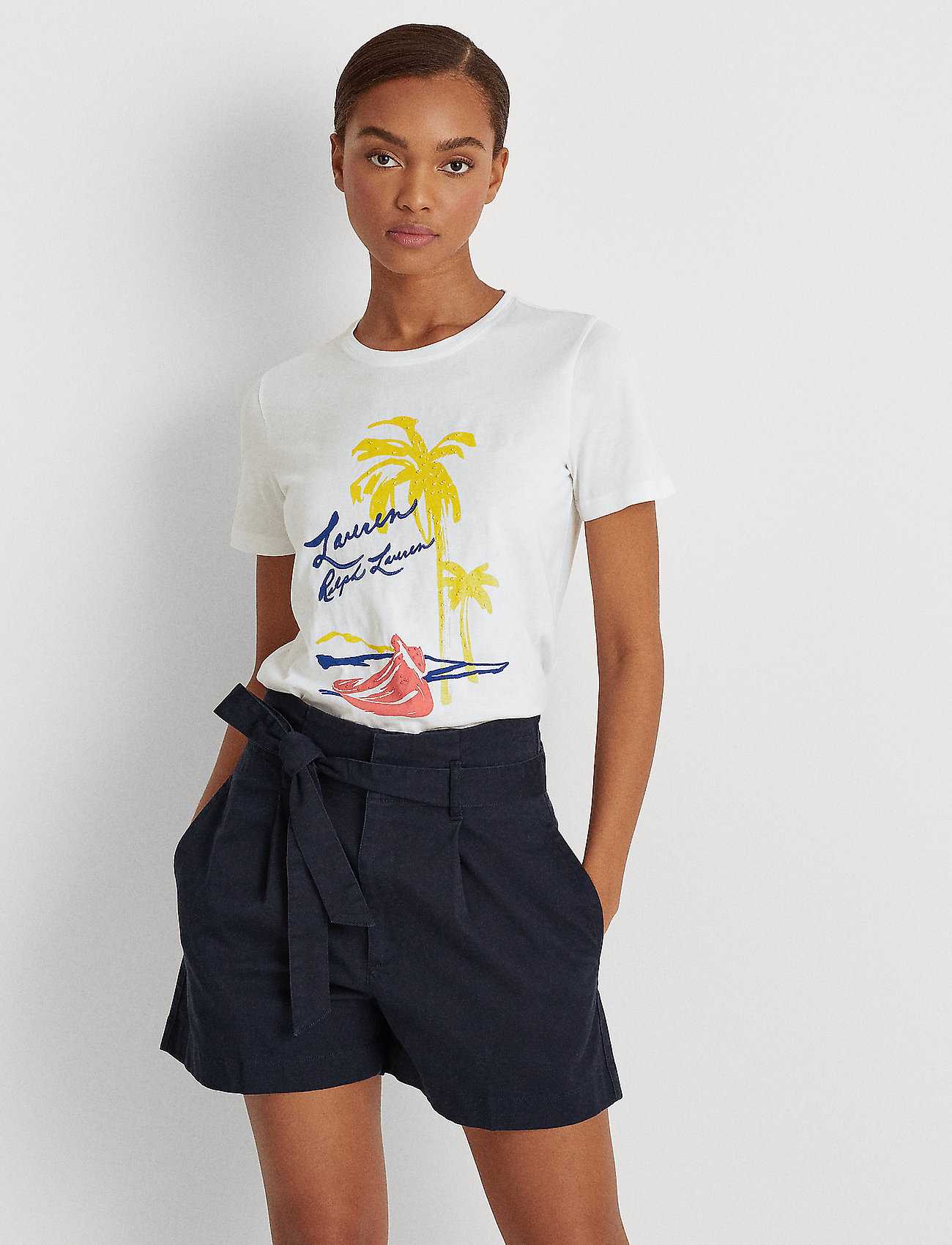 Lauren Ralph Lauren - Print Cotton-Blend Tee - t-shirts - white - 0