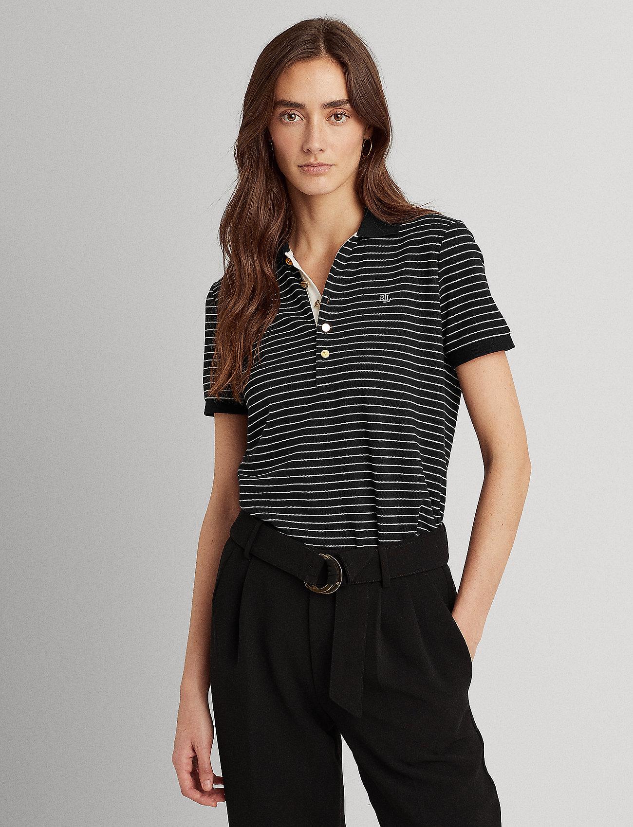 Lauren Ralph Lauren - Striped Piqué Polo Shirt - polos - polo black/white - 0