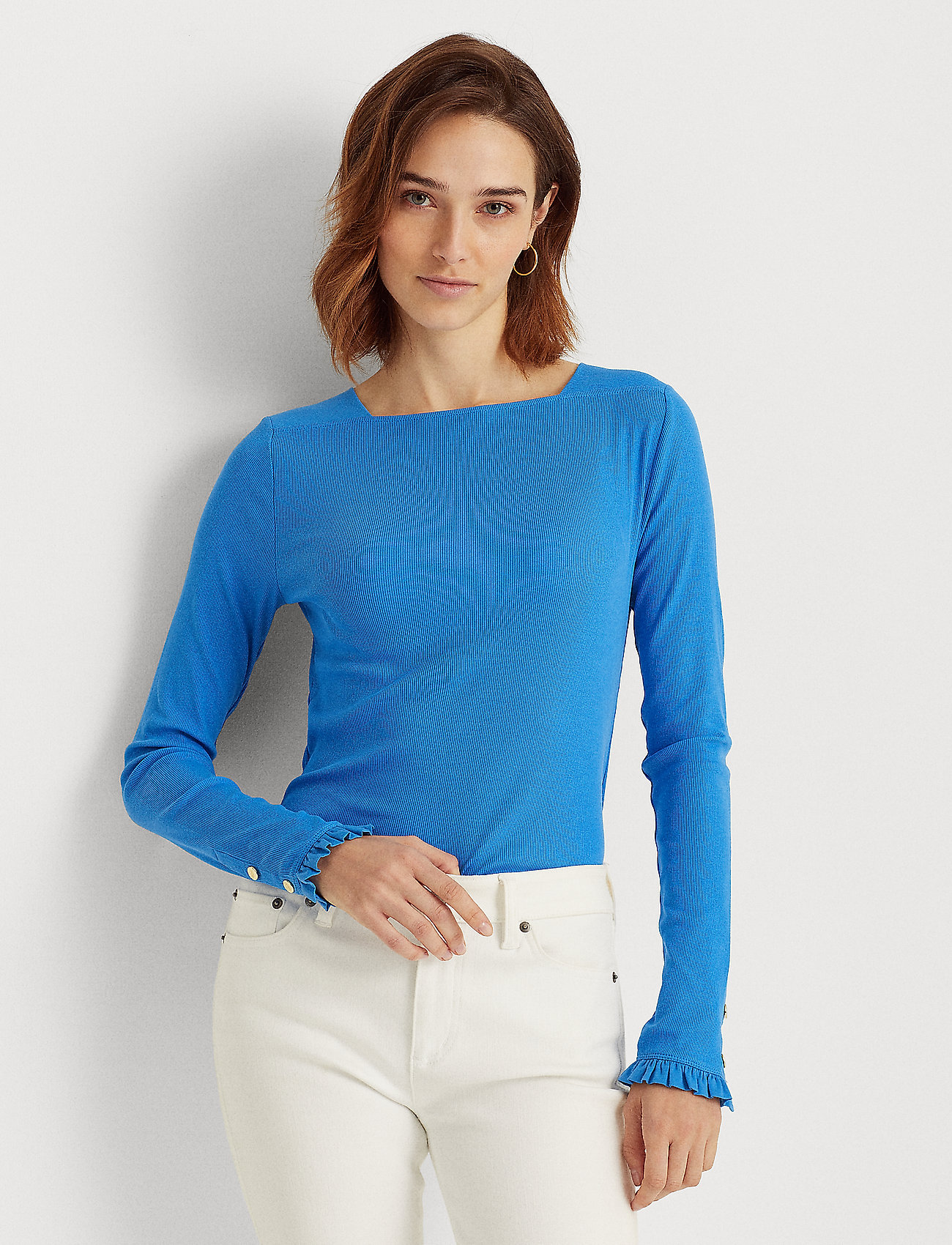 Lauren Ralph Lauren - Ruffle-Trim Stretch Cotton Top - langærmede toppe - captain blue - 0