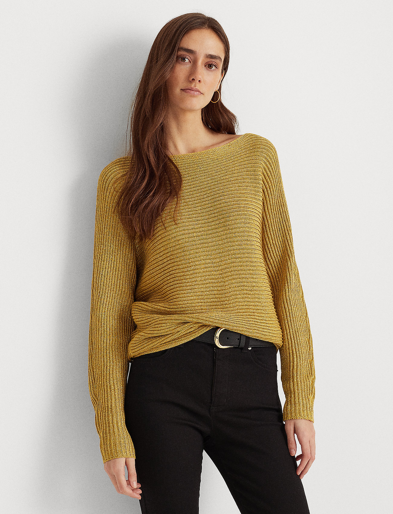 Lauren Ralph Lauren - Dolman-Sleeve Boatneck Sweater - pulls - shiny gold lurex - 0