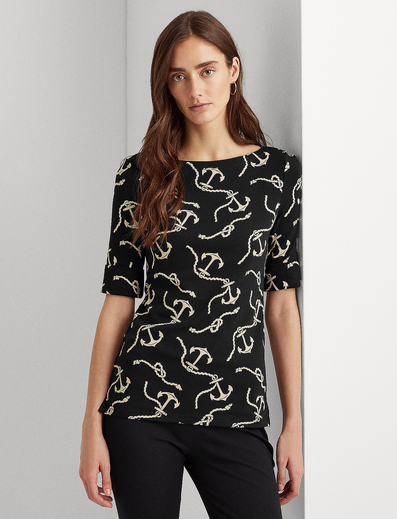 Lauren Ralph Lauren - Print Cotton-Blend Boatneck Top - blouses à manches courtes - polo black/white - 0
