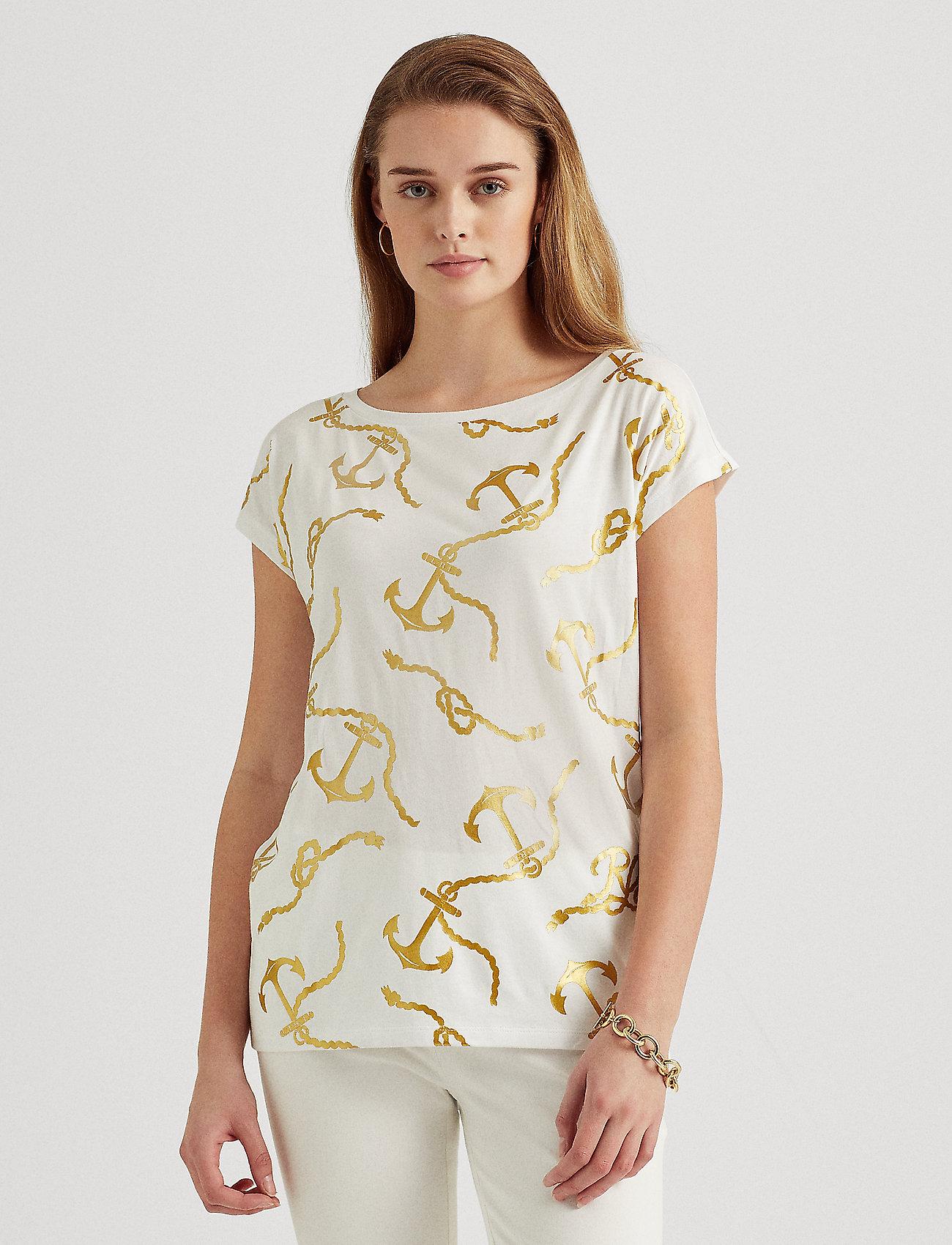 Lauren Ralph Lauren - Print Boatneck Tee - t-shirts - white - 0