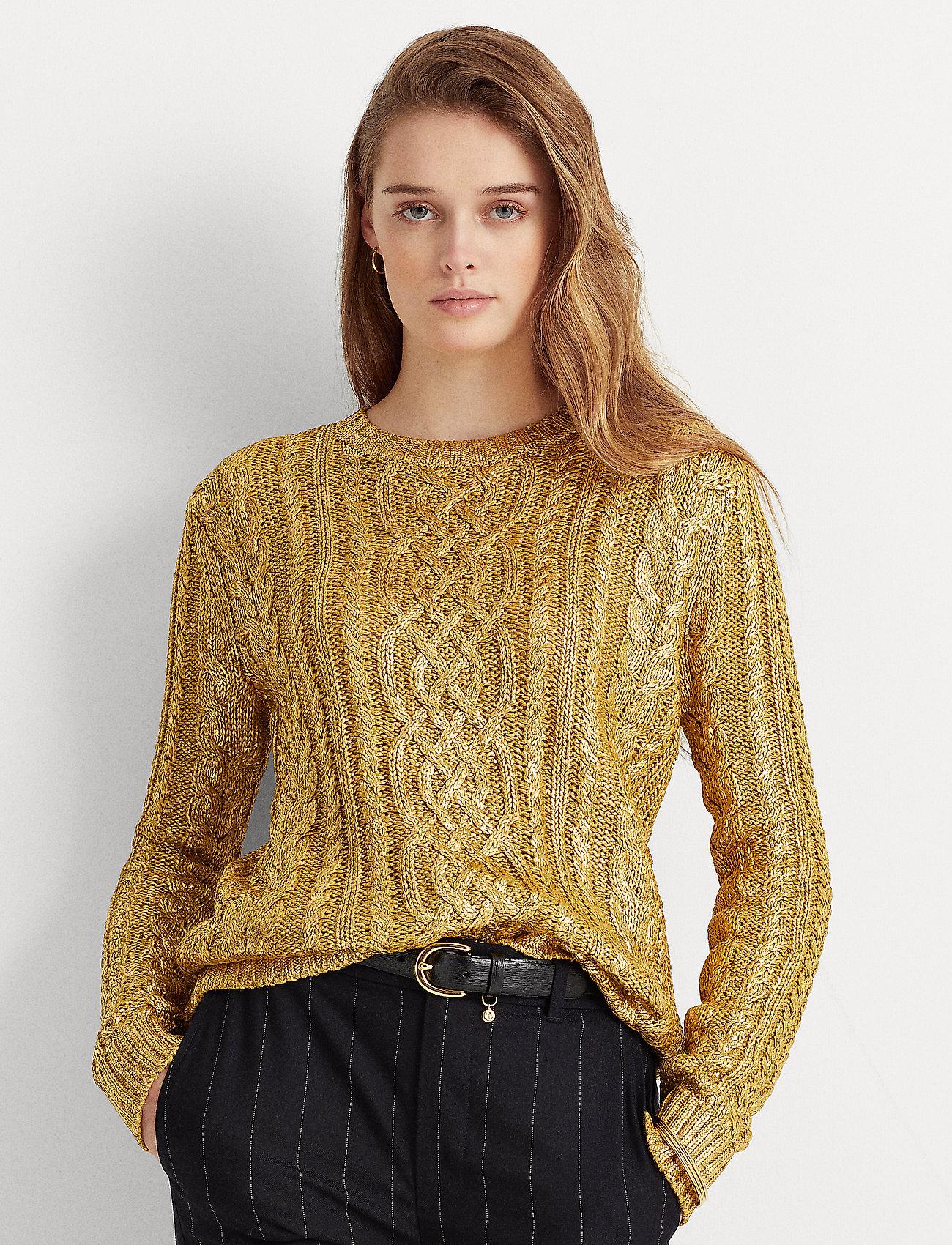 Lauren Ralph Lauren - Foiled Cable-Knit Sweater - trøjer - shiny gold - 0