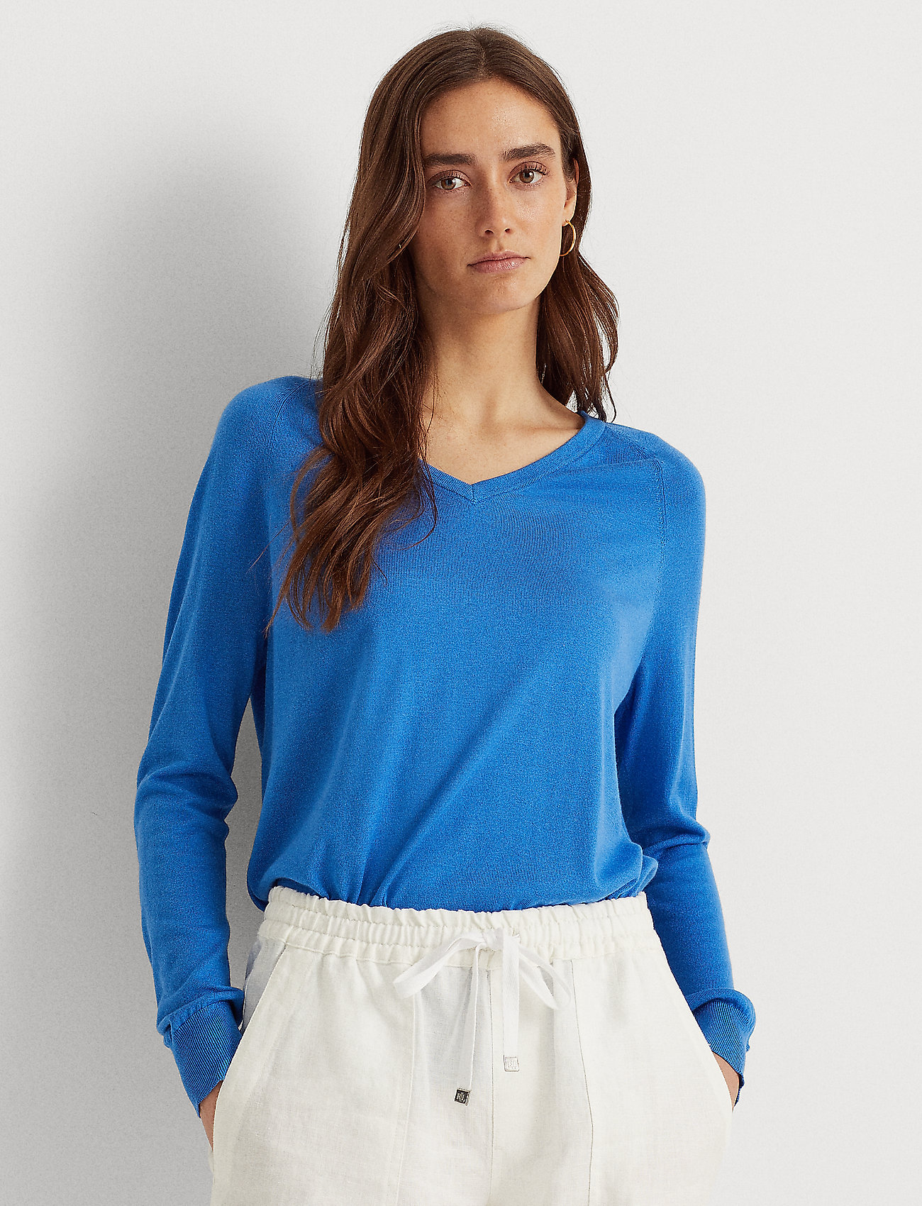 Lauren Ralph Lauren - Modal-Silk V-Neck Sweater - pulls - captain blue - 0