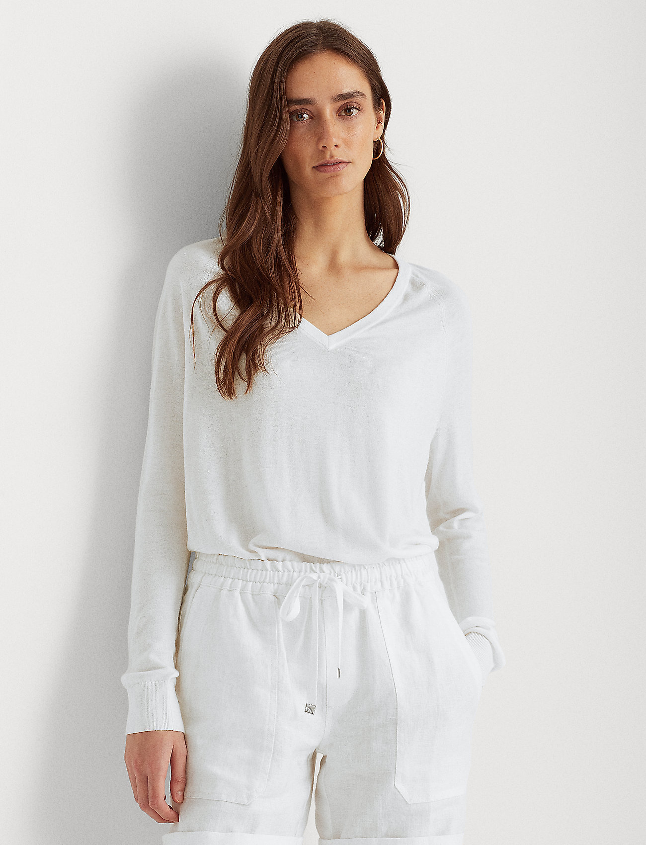 Lauren Ralph Lauren - Modal-Silk V-Neck Sweater - trøjer - white - 0