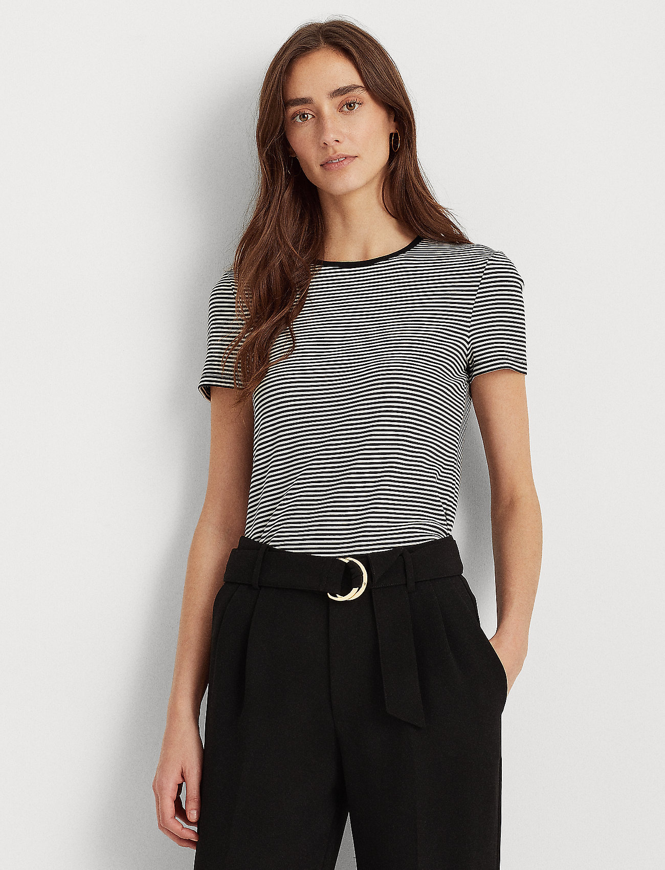 Lauren Ralph Lauren - Striped Cotton-Blend T-Shirt - t-shirts - white/polo black - 0