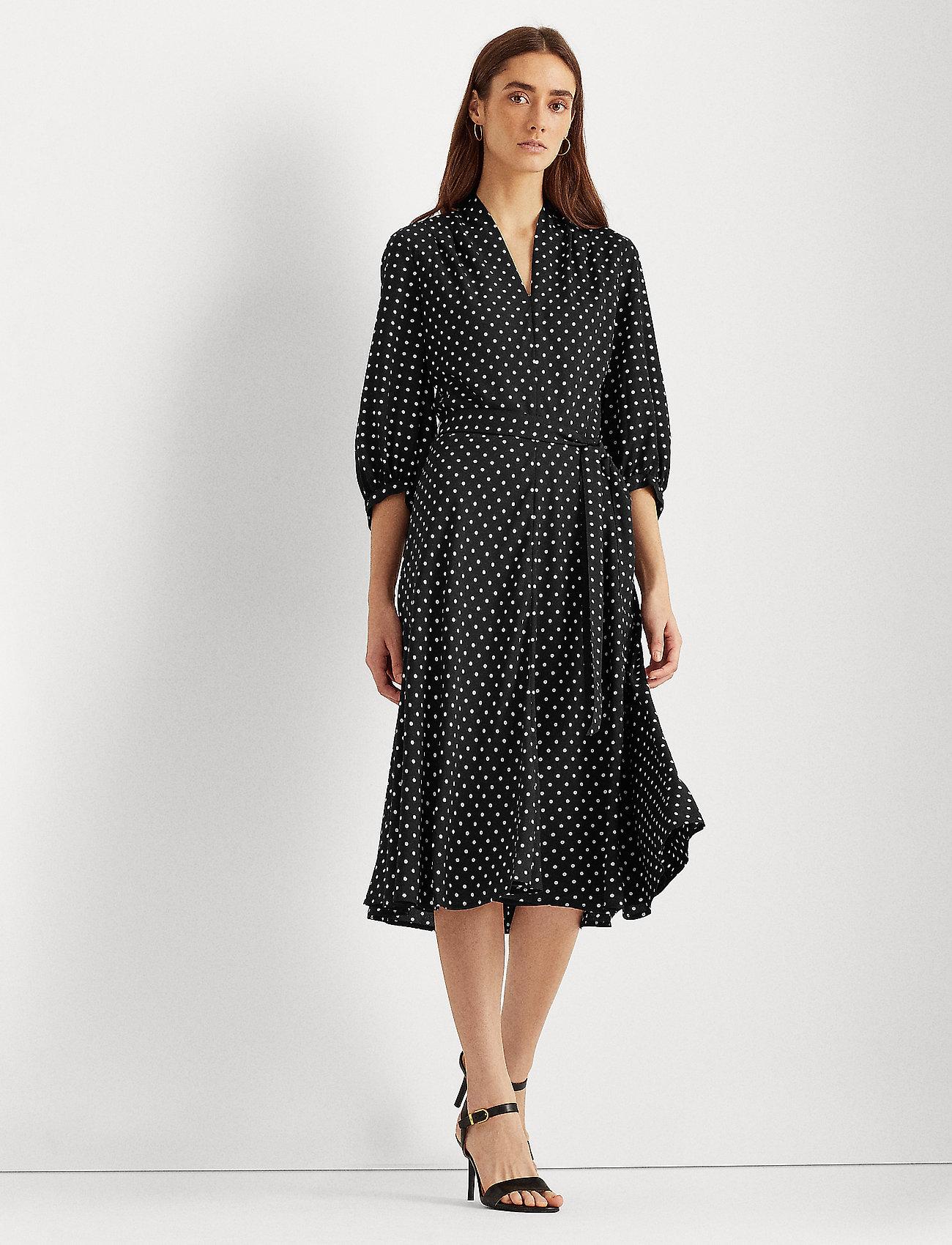 Lauren Ralph Lauren - Polka-Dot Bishop-Sleeve Crepe Dress - hverdagskjoler - polo black/white - 0