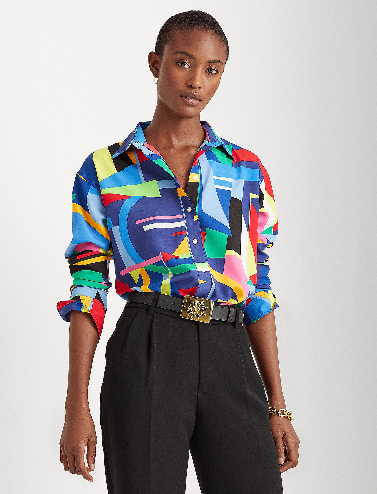 Lauren Ralph Lauren - Print Crepe Shirt - chemises à manches longues - polo black multi - 0