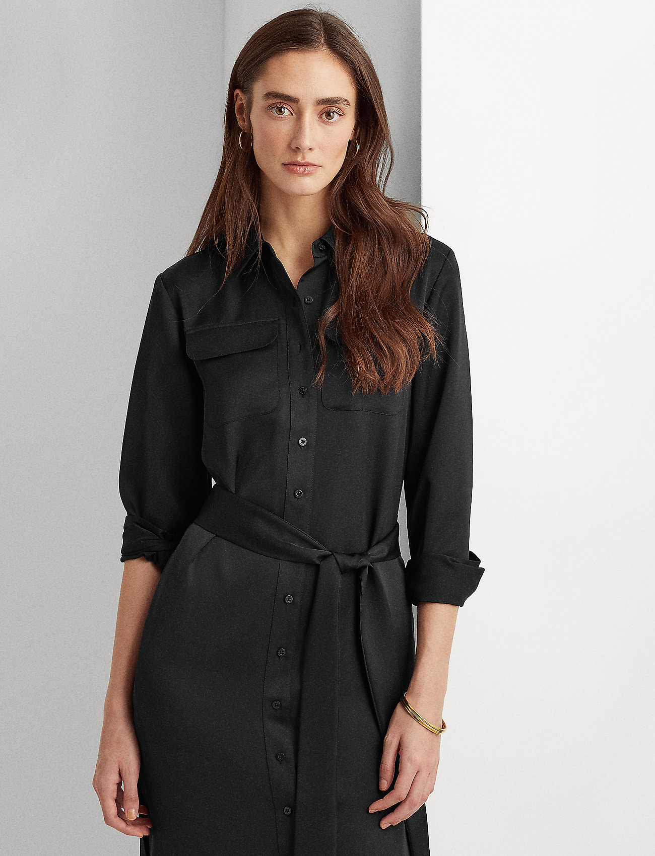 Lauren Ralph Lauren - Sateen Button-Down Shirtdress - skjortekjoler - polo black - 0
