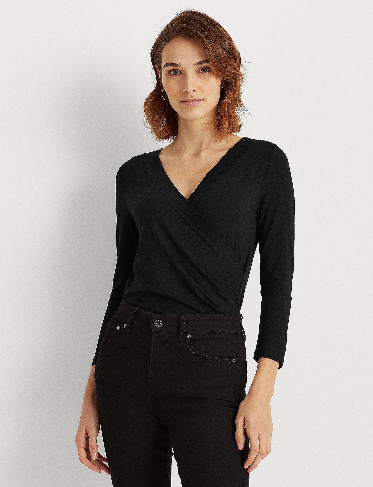 Lauren Ralph Lauren - Wrap-Style Jersey Top - blouses à manches longues - polo black - 0