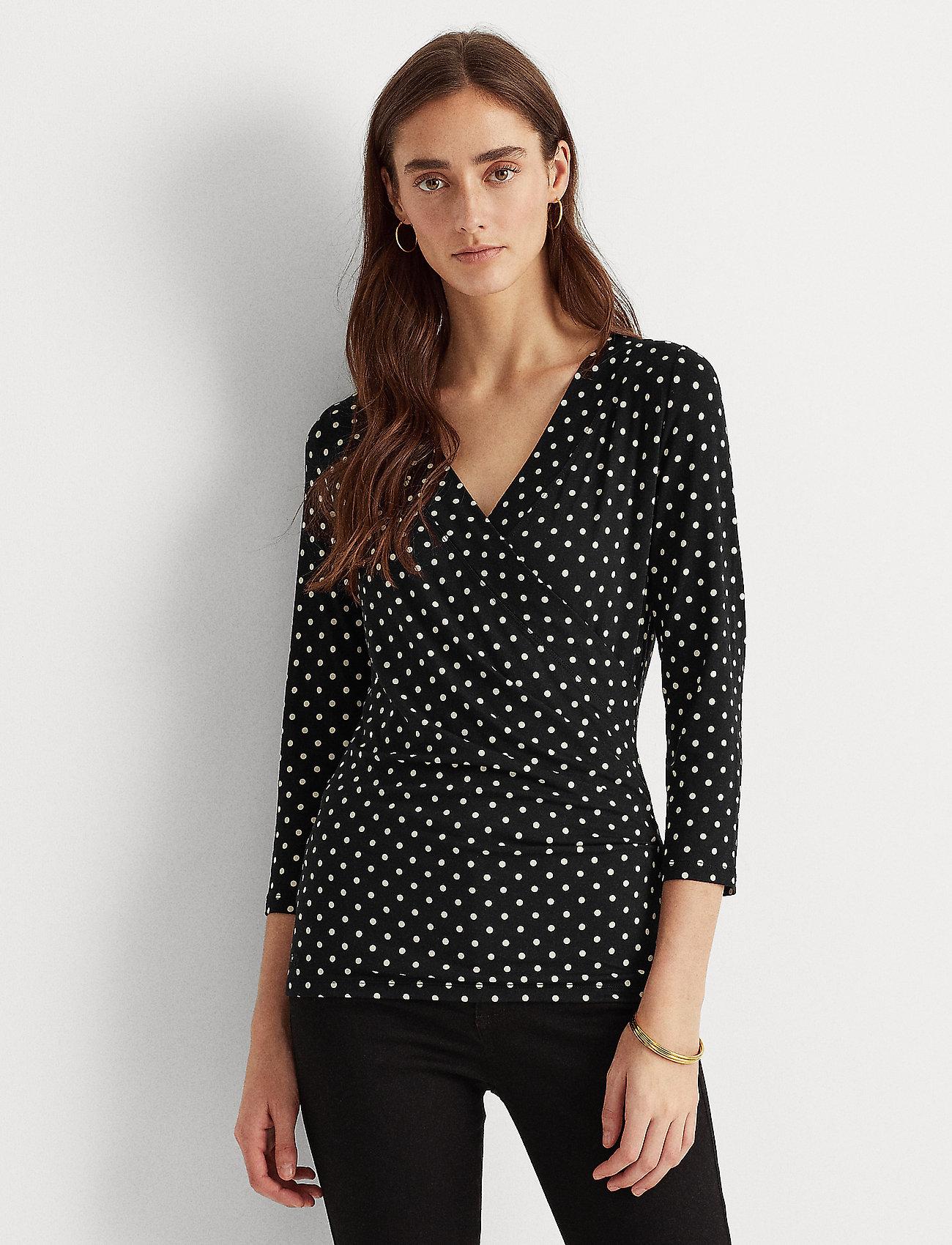 Lauren Ralph Lauren - Polka-Dot Wrap-Style Jersey Top - langærmede bluser - polo black/white - 0