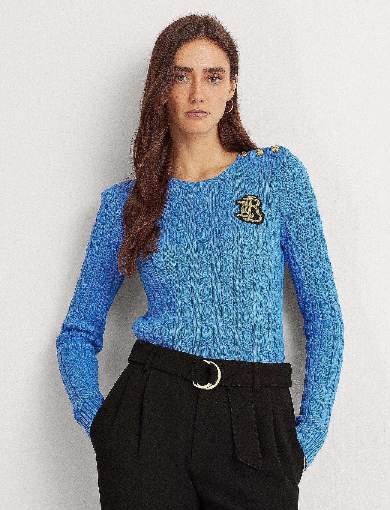 Lauren Ralph Lauren - Button-Trim Cable-Knit Sweater - trøjer - captain blue - 0