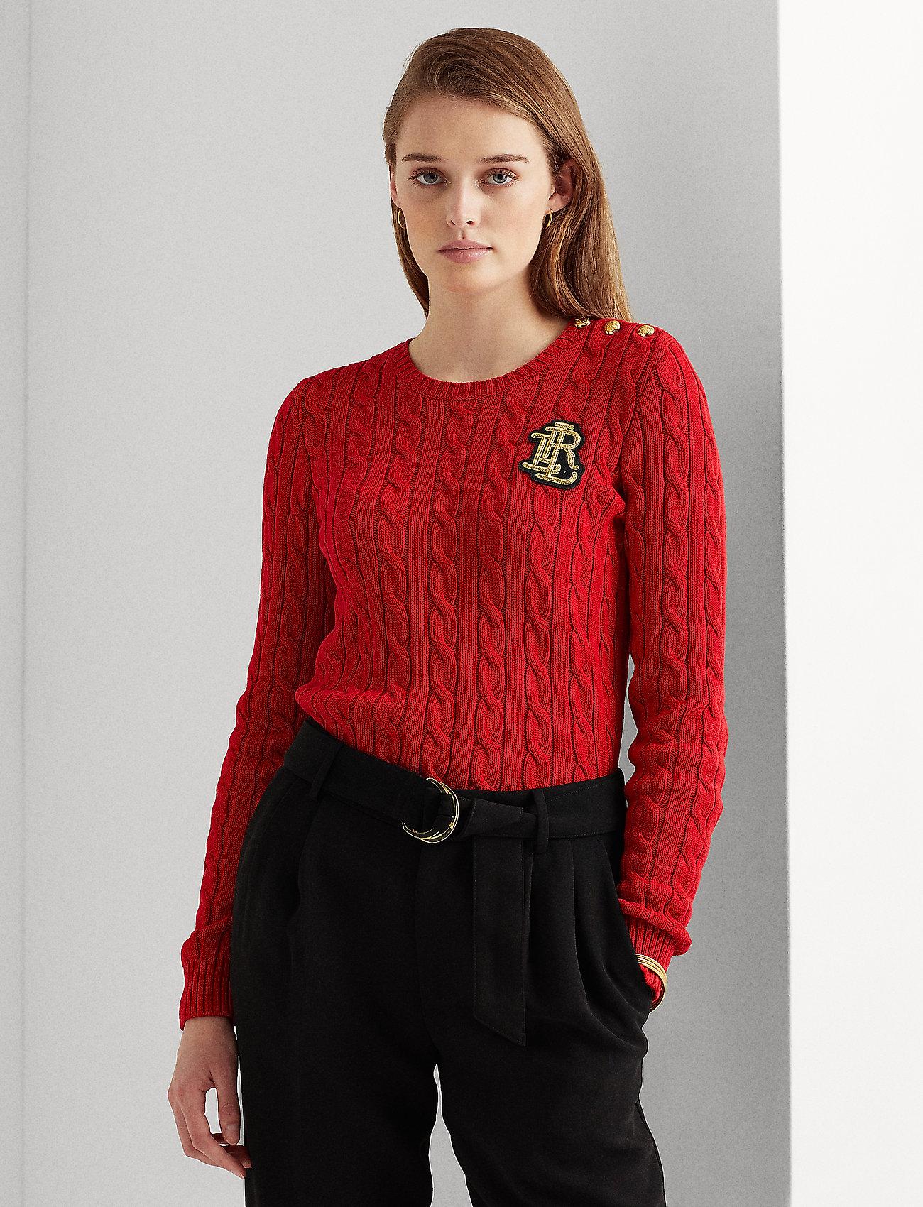 Lauren Ralph Lauren - Button-Trim Cable-Knit Sweater - trøjer - lipstick red - 0