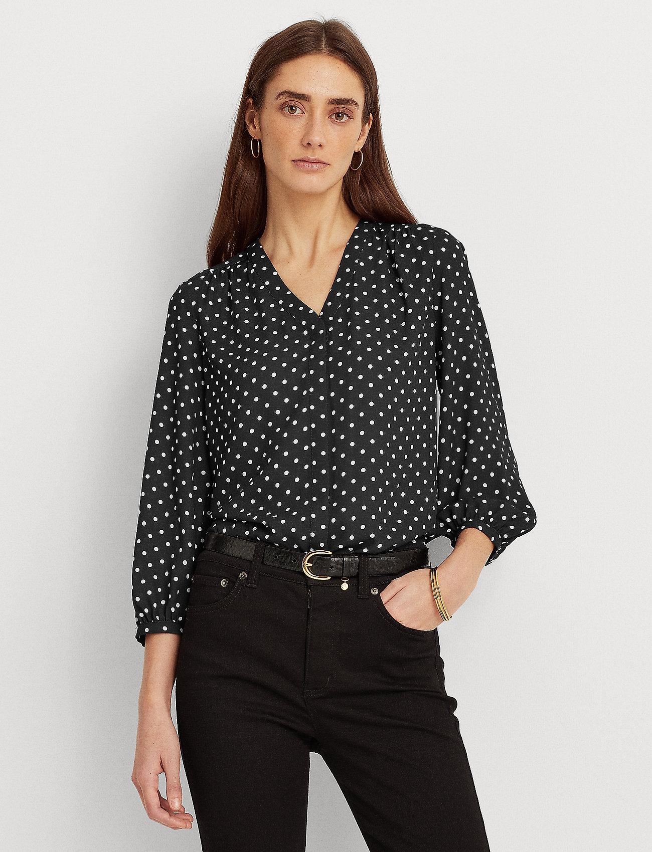 Lauren Ralph Lauren - Polka-Dot Georgette Top - blouses à manches longues - polo black/white - 0