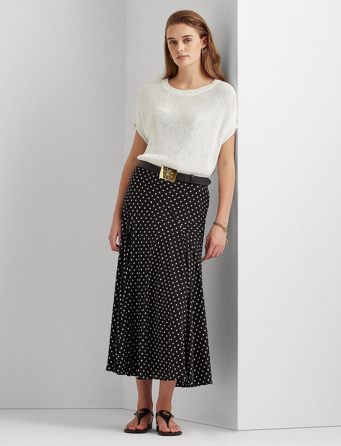 Lauren Ralph Lauren - Polka-Dot Georgette Peasant Skirt - midinederdele - polo black/white - 0