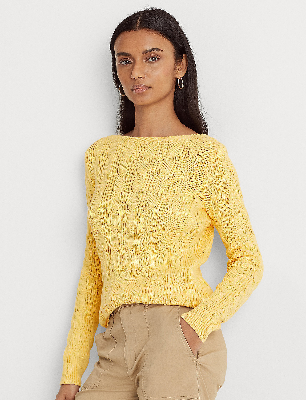 Lauren Ralph Lauren - Cable-Knit Boatneck Cotton Sweater - trøjer - beach yellow - 0