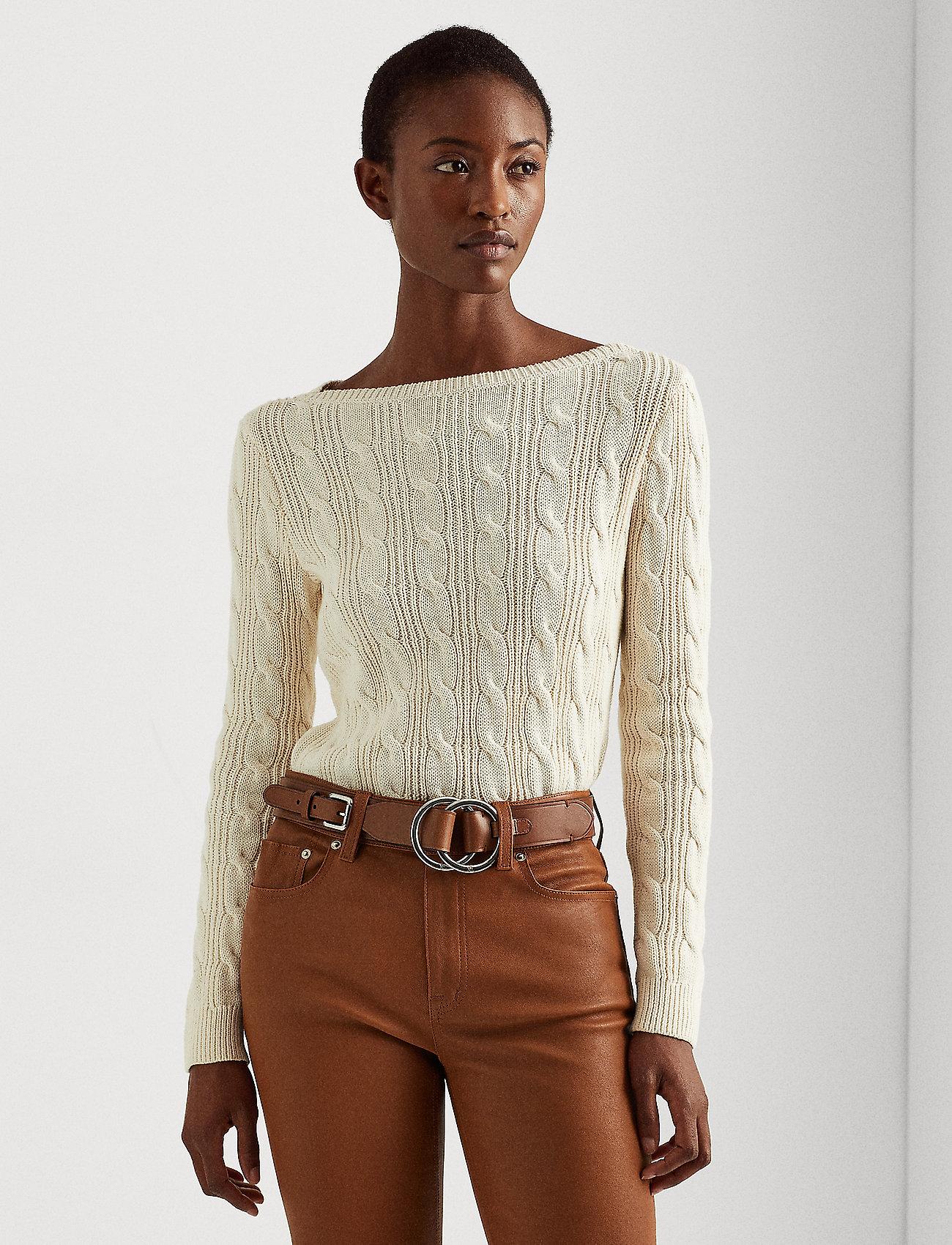 Lauren Ralph Lauren - Cable-Knit Boatneck Cotton Sweater - trøjer - mascarpone cream - 0