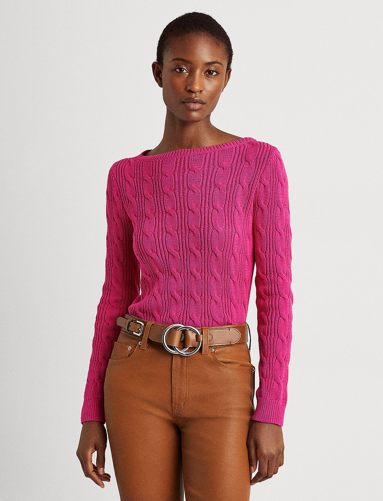 Lauren Ralph Lauren - Cable-Knit Boatneck Cotton Sweater - trøjer - nouveau bright pi - 0