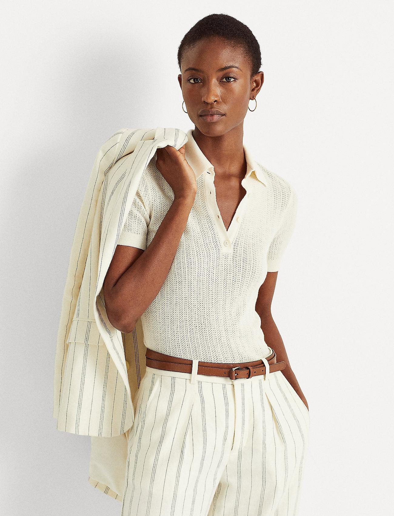 Lauren Ralph Lauren - Rib-Knit Collared Shirt - polos - mascarpone cream - 0