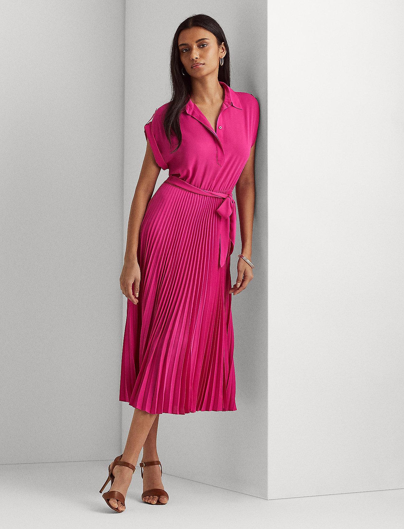 Lauren Ralph Lauren - Pleated Georgette Shirtdress - skjortekjoler - nouveau bright pi - 0