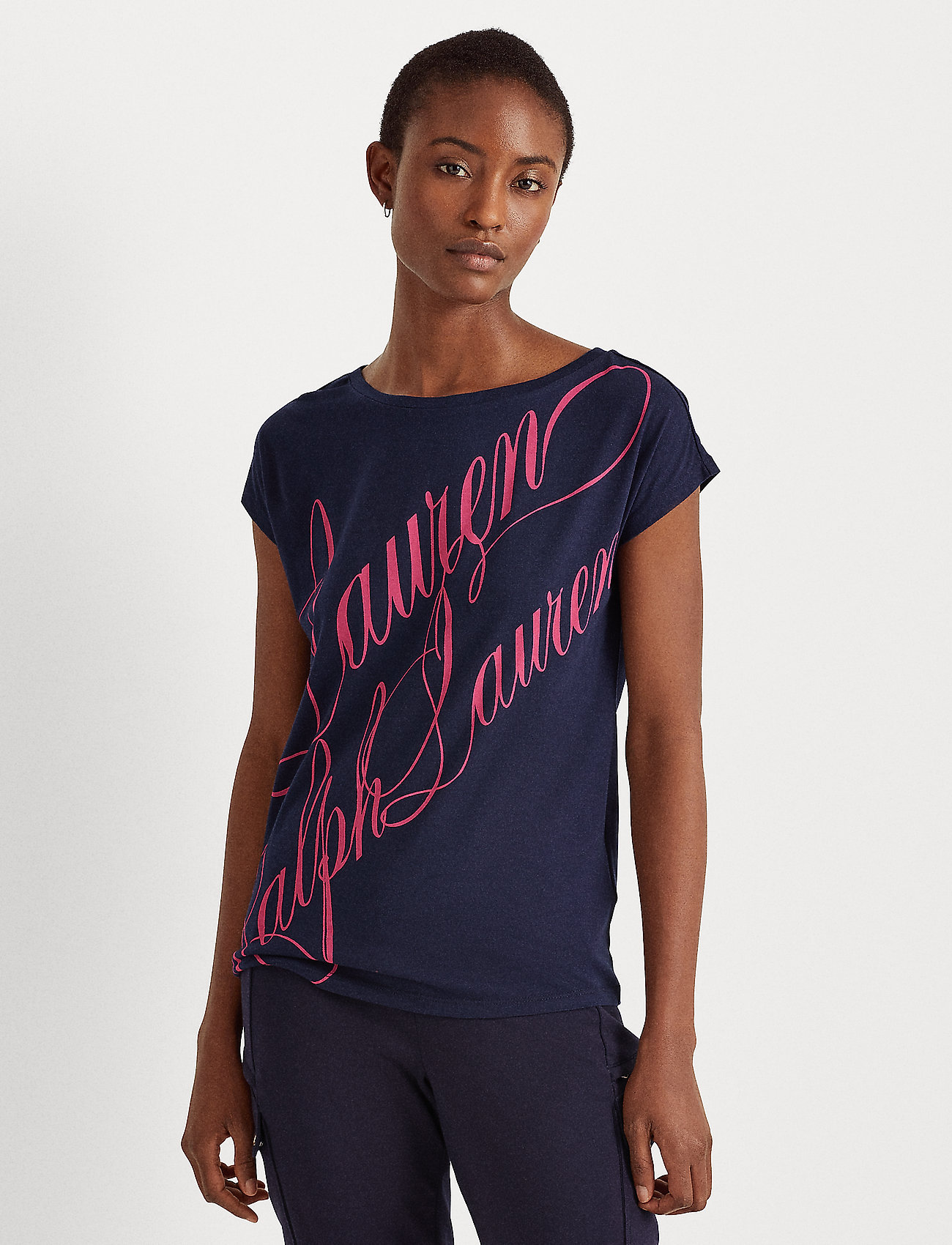 Lauren Ralph Lauren - Logo Boatneck Tee - t-shirts - french navy - 0