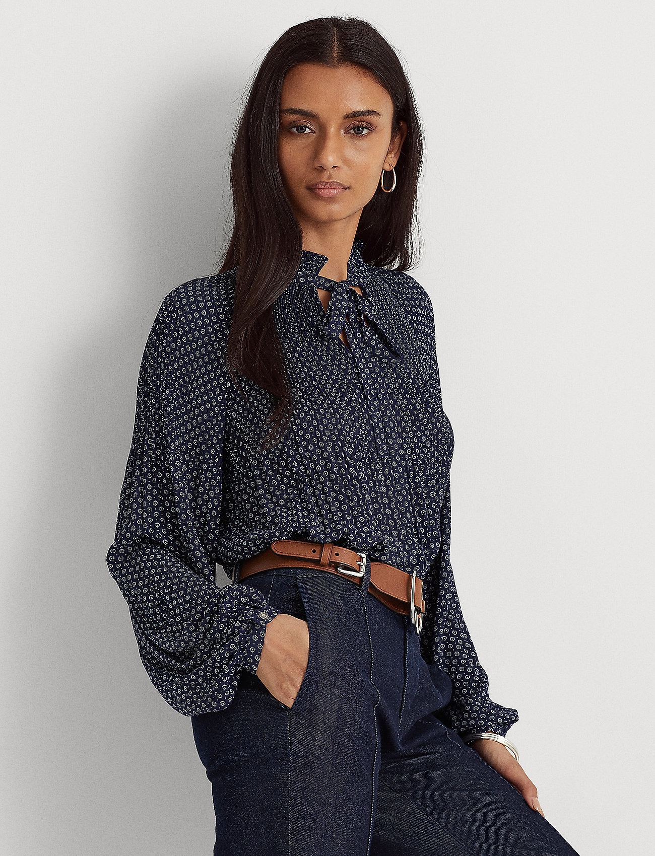 Lauren Ralph Lauren - Georgette Tie-Neck Top - blouses à manches longues - french navy/pale - 0