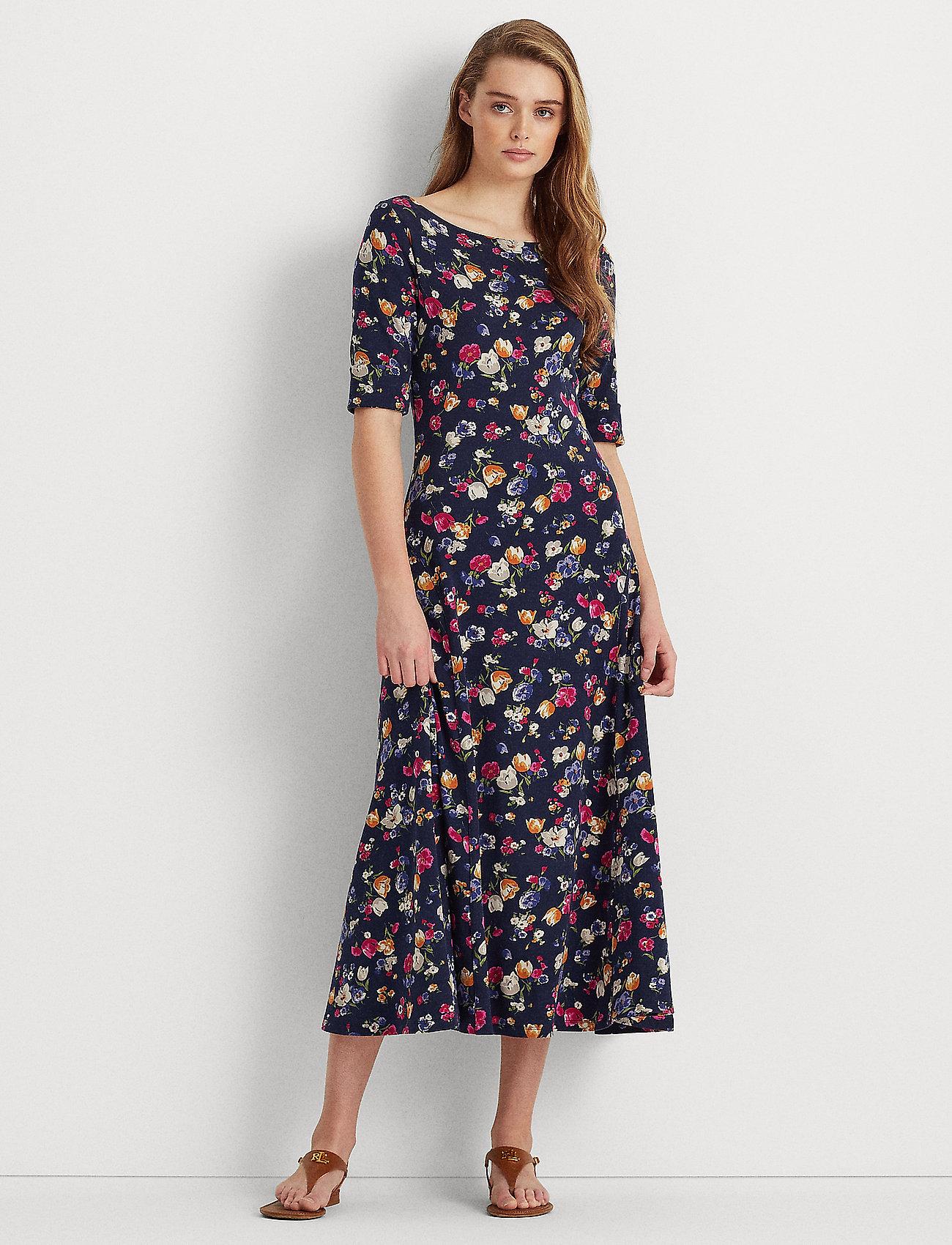 Lauren Ralph Lauren - Floral Stretch Cotton Midi Dress - sommerkjoler - french navy multi - 0