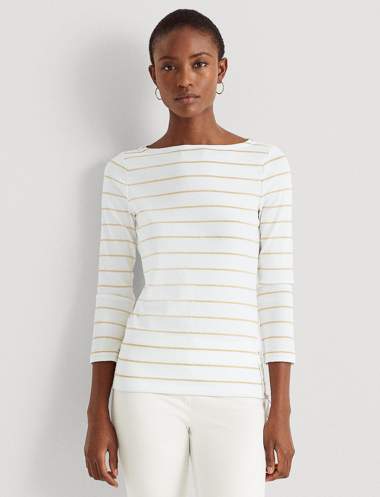 Lauren Ralph Lauren - Metallic Striped Cotton Boatneck Top - hauts à manches longues - white/gold metal - 0