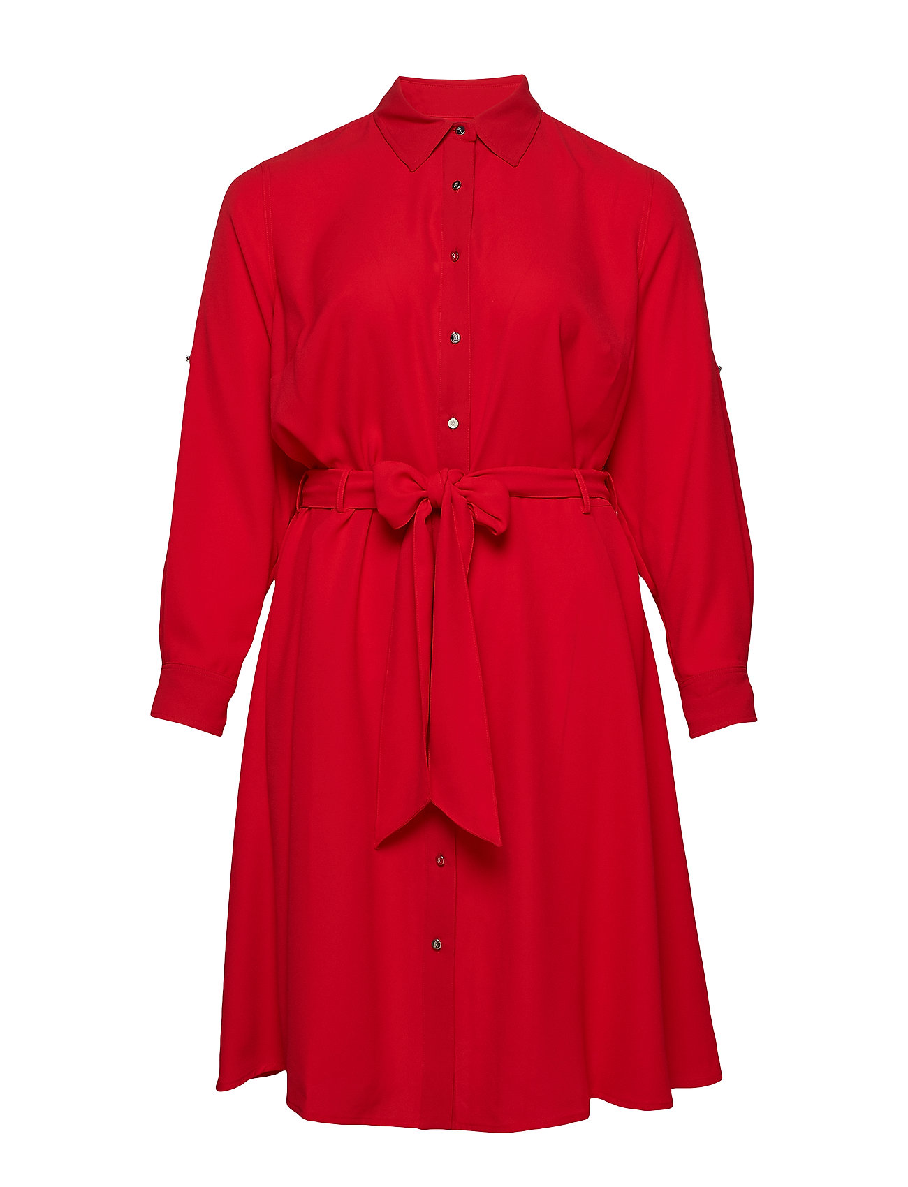 c26a2288bf4 Plus Size Georgette Shirtdress (Crimson) (1097.25 kr) - Lauren Ralph ...