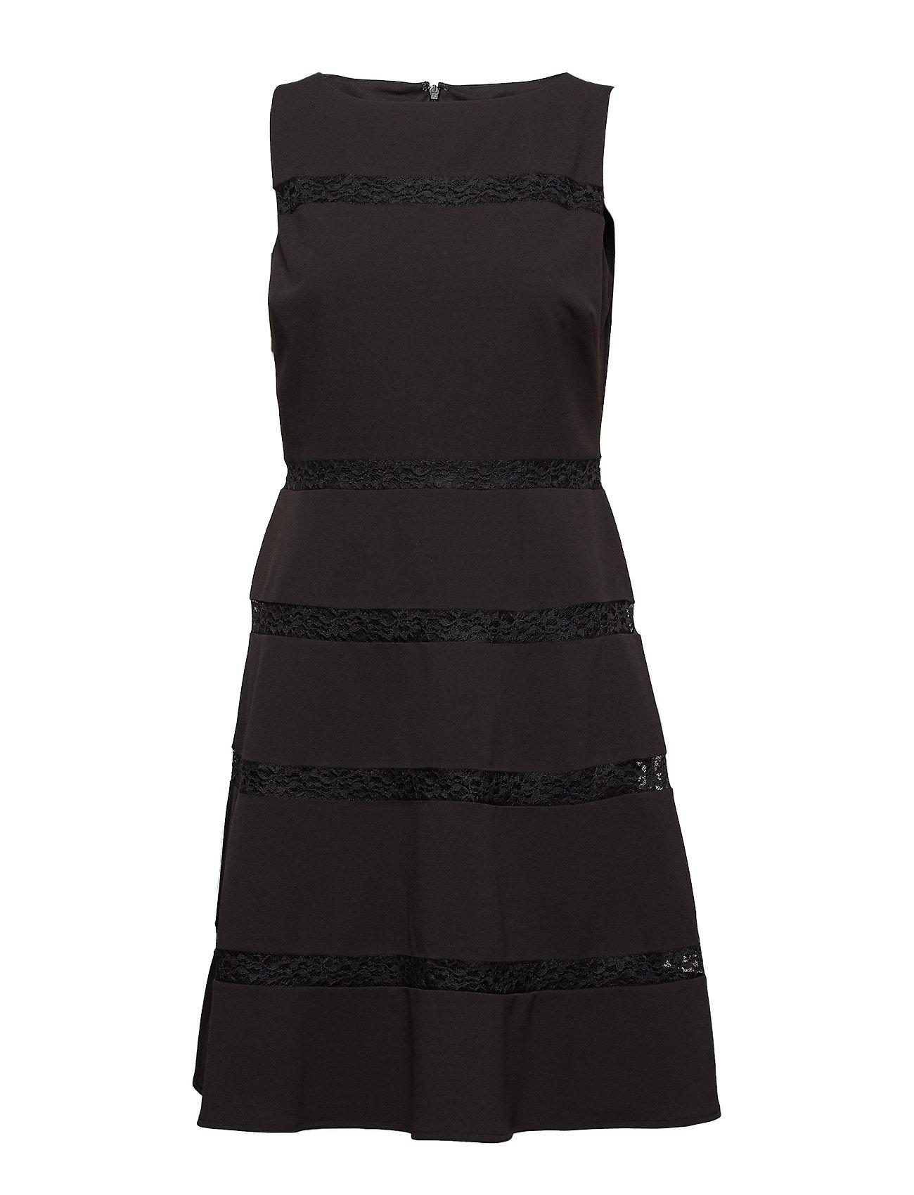 Lauren Ralph Lauren Lace-Trim Crepe Dress - BLACK