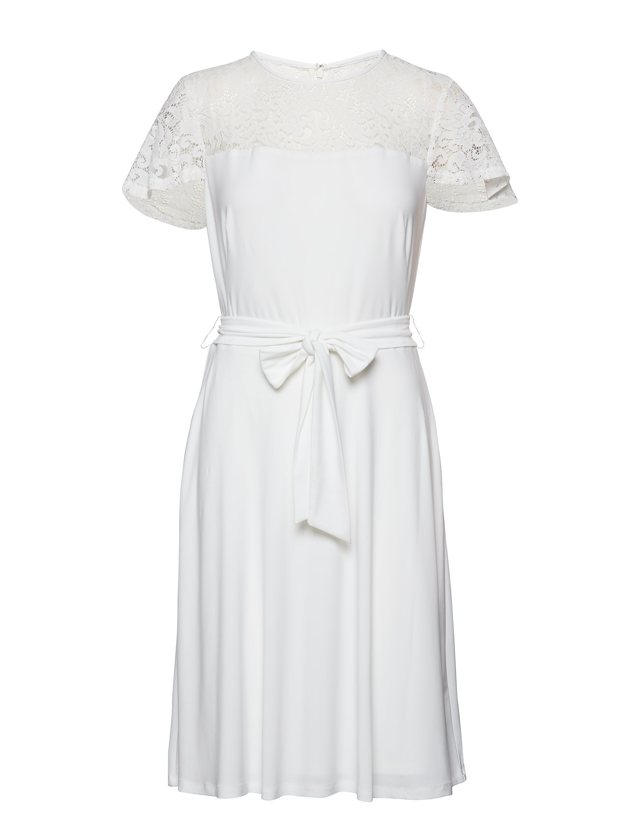Belted WhiteLauren Lace Ralph Dresslauren trim hdtrsQ