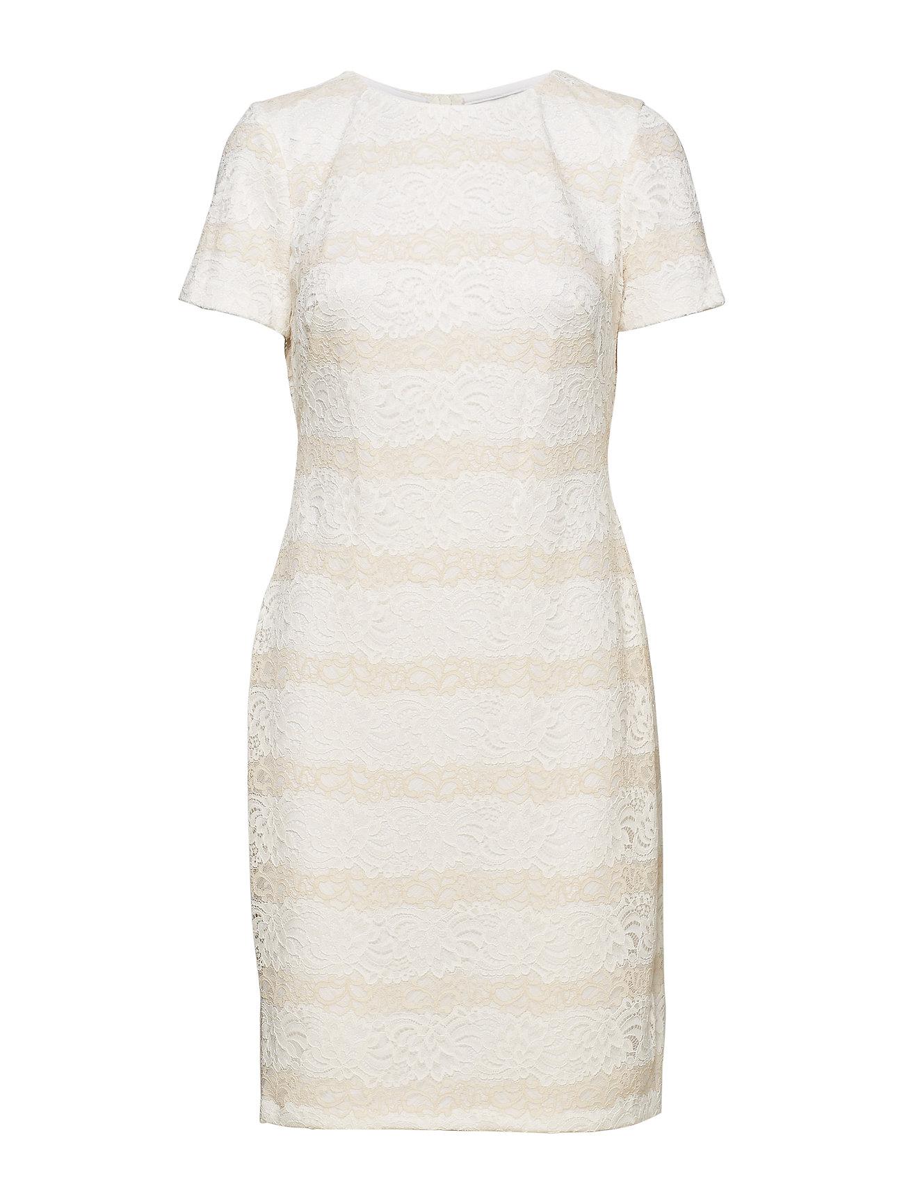 Lauren Ralph Lauren Striped Lace Dress - LAUREN WHITE/CASH