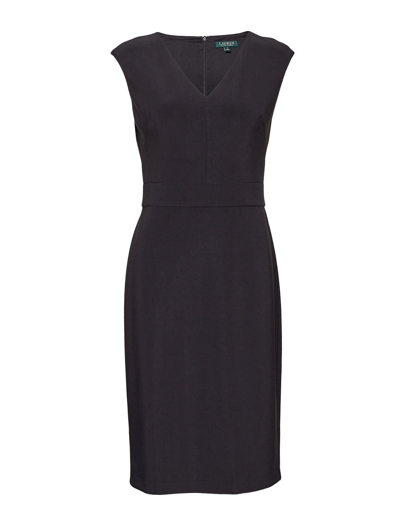 Lauren Ralph Lauren Crepe Cap-Sleeve Dress - BLACK