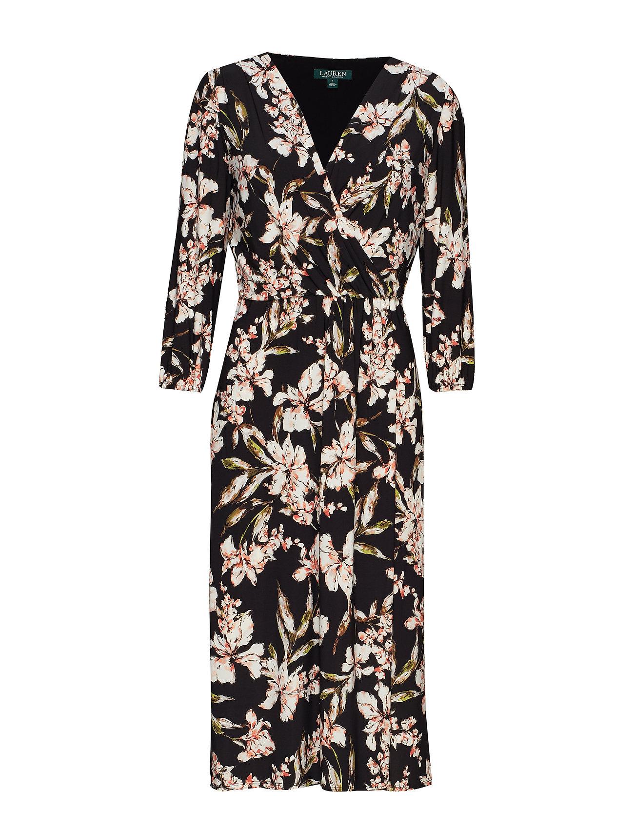 Lauren Ralph Lauren Floral Jersey Midi Dress - BLACK/PINK/MULTI