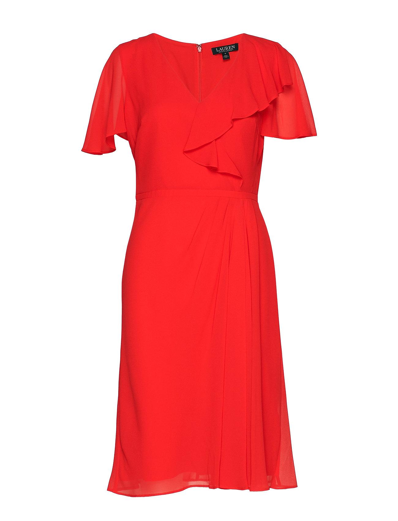 Lauren Ralph Lauren Ruffle-Trim Georgette Dress - SUMMER POPPY
