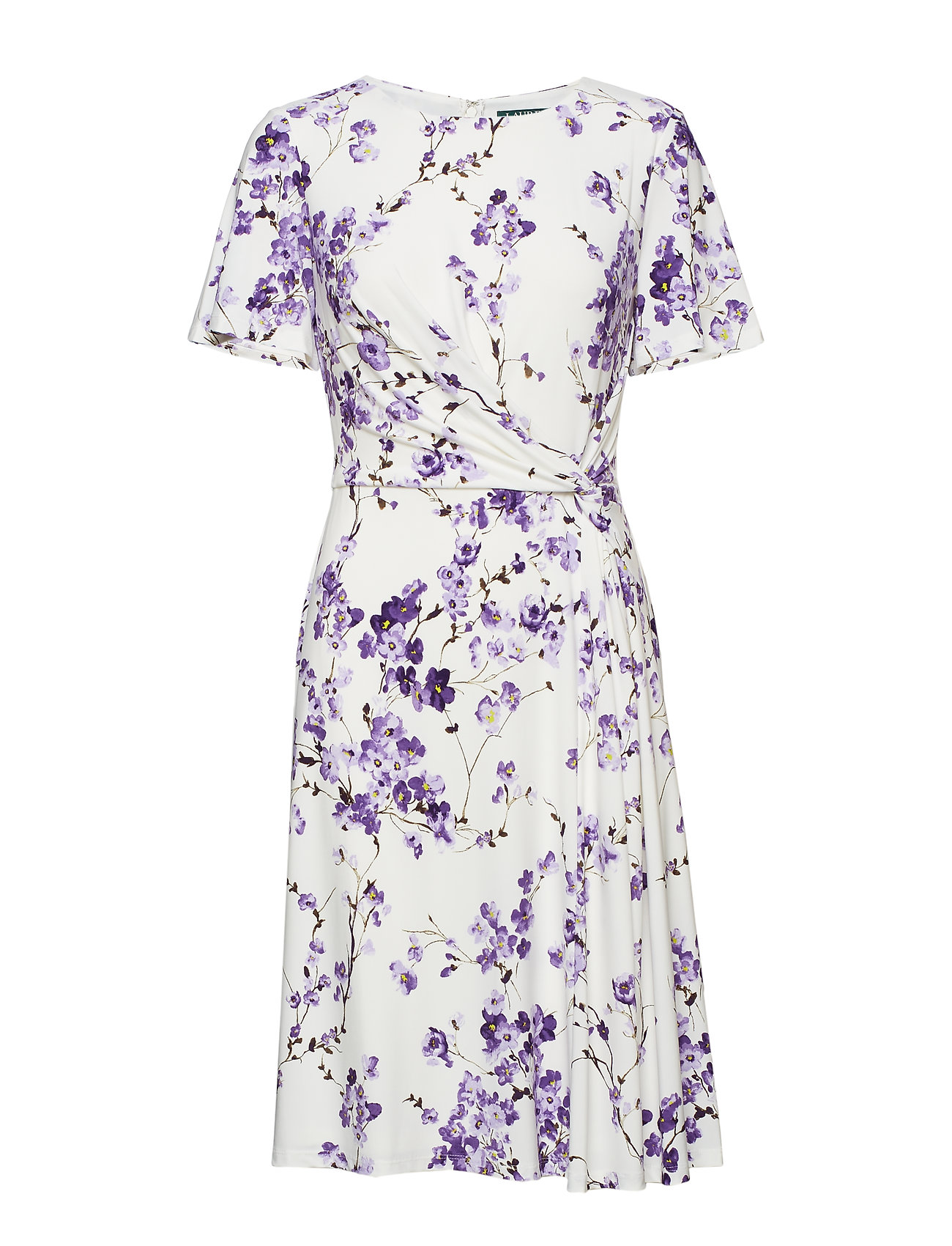 Lauren Ralph Lauren Knot Floral-Print Jersey Dress - COL CREAM/PURPLE/