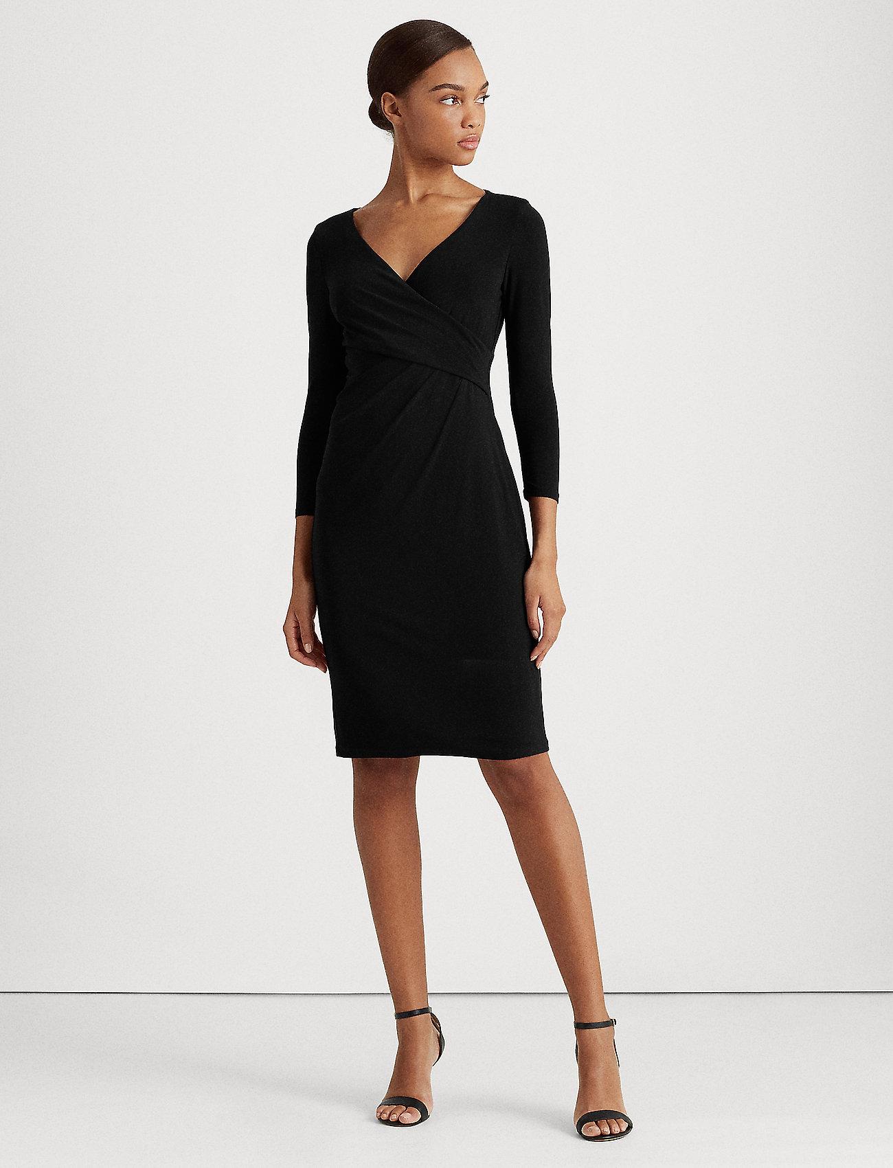 Lauren Ralph Lauren - Surplice Jersey Dress - midi kjoler - black - 0