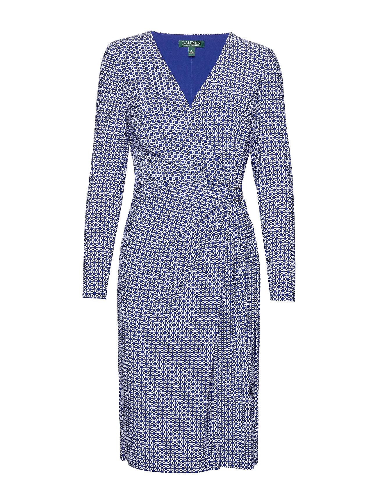 Lauren Ralph Lauren PRINTED MATTE JRSY-DRESS W/ TRIM - PARISIAN BLUE/COL