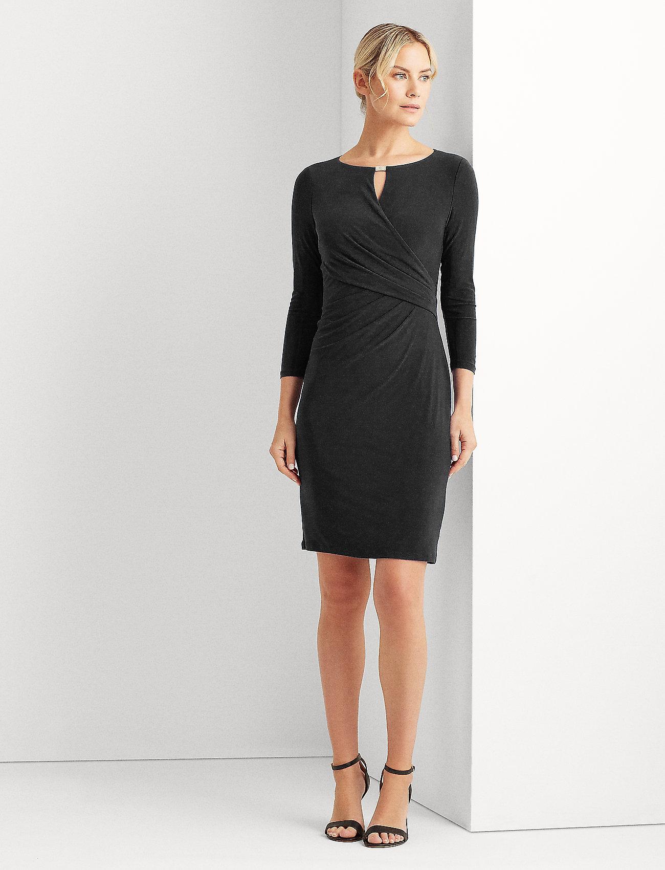Lauren Ralph Lauren - Wrap-Style Jersey Dress - midi kjoler - black - 0