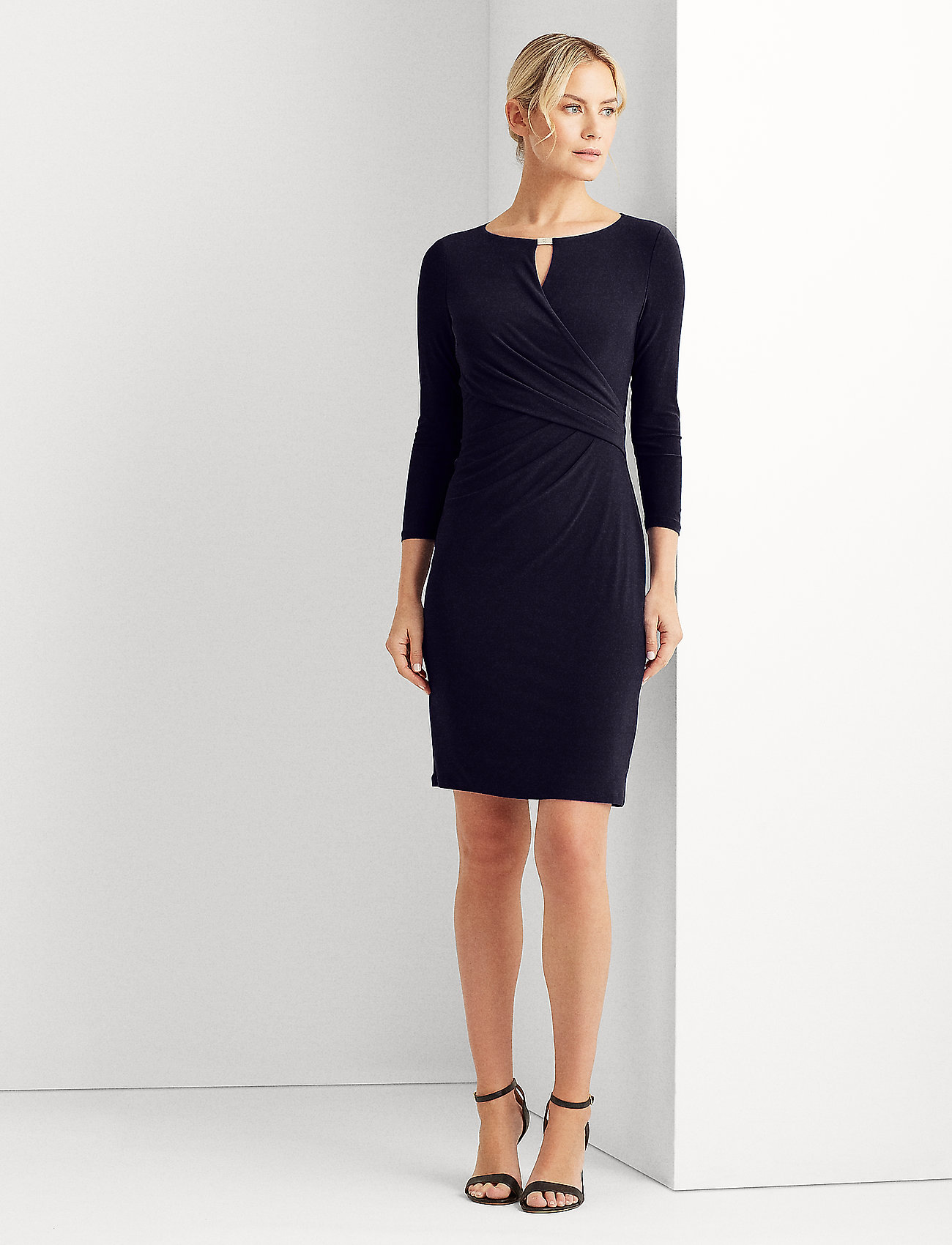 Lauren Ralph Lauren - Wrap-Style Jersey Dress - midi kjoler - lighthouse navy - 0