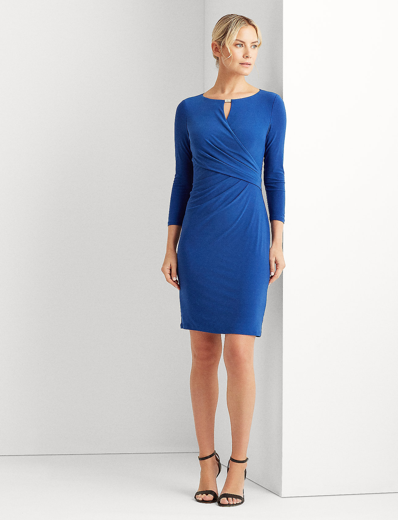 Lauren Ralph Lauren - Wrap-Style Jersey Dress - midi kjoler - summer sapphire - 0