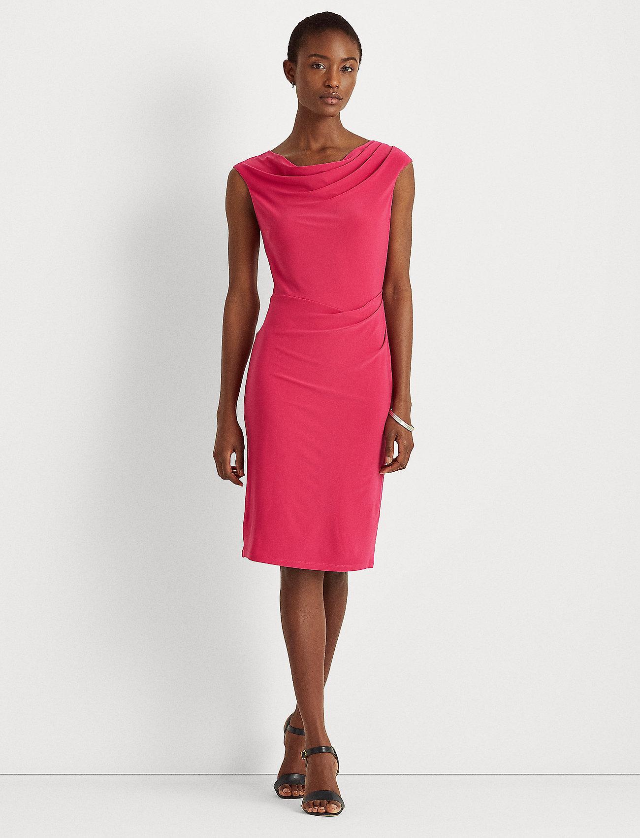 Lauren Ralph Lauren - Jersey Cowlneck Dress - cocktailkjoler - aruba pink - 0