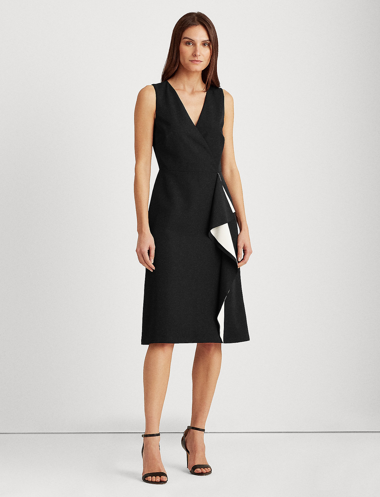 Lauren Ralph Lauren - Crepe Surplice Dress - midi kjoler - black/lauren whit - 0