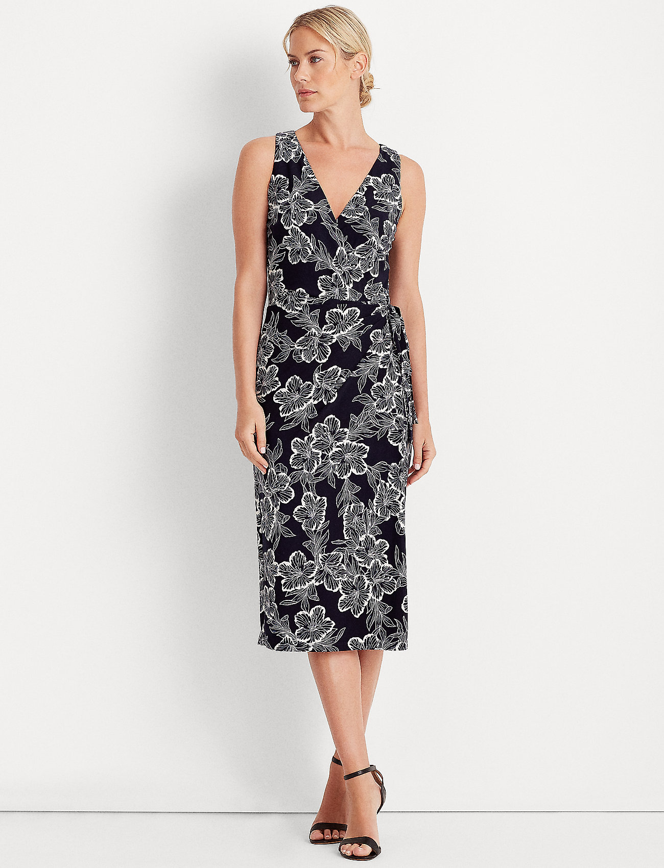 Lauren Ralph Lauren - Floral Jersey Surplice Dress - midi kjoler - lighthouse navy/c - 0