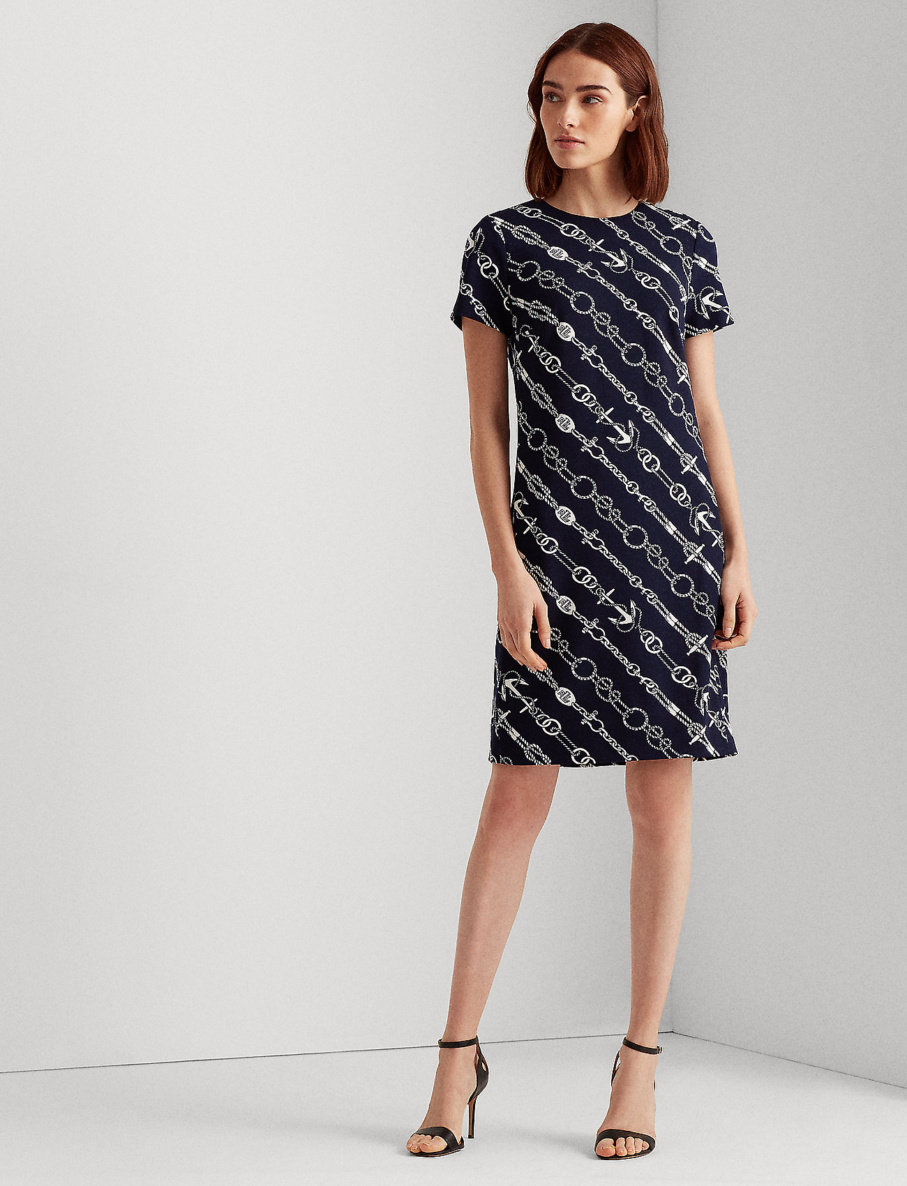 Lauren Ralph Lauren - Anchor-Print Jacquard Dress - midi kjoler - lighthouse navy/c - 0