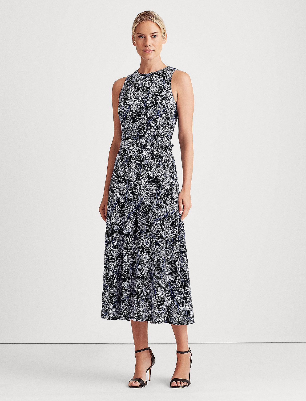 Lauren Ralph Lauren - Floral Jersey Sleeveless Dress - midi kjoler - lh navy/blue/colo - 0