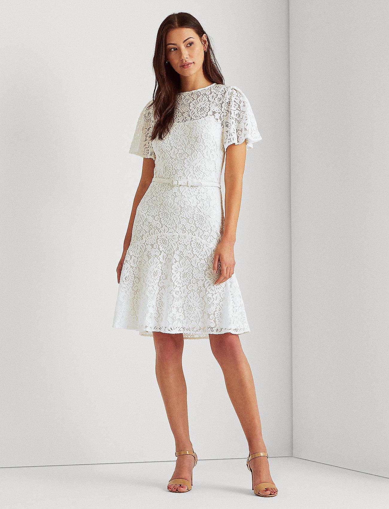 Lauren Ralph Lauren - Belted Lace Dress - cocktailkjoler - lauren white - 0